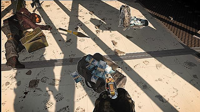 A bag of cash sits next to a downed player in Warzone's Plunder.