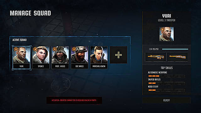 The Wasteland 3 Squad menu, showing five character avatars and their skills.