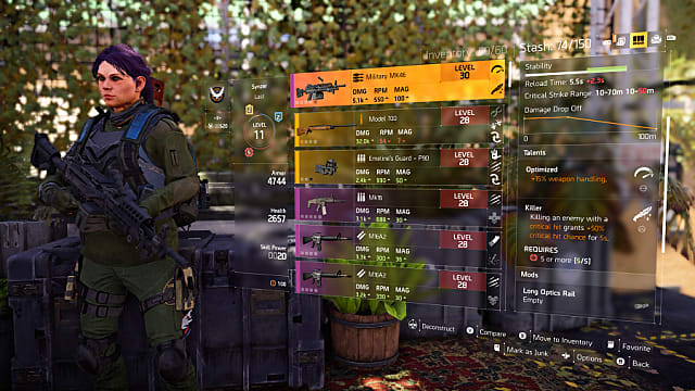 the division 2 weapon talents