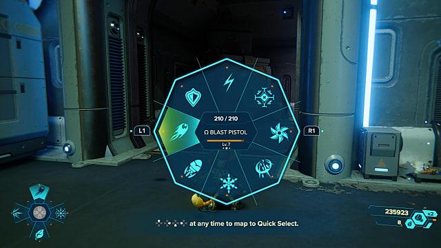 Ratchet and Clank weapon wheel highlighting blast pistol.
