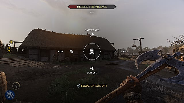 Chivalry 2 weapon wheel superimposed on a village and Vanguard holding an axe.