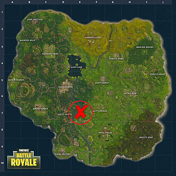 Where to find the Search Between a Metal Bridge battle star in Fortnite Battle Royale as marked by a big, red X