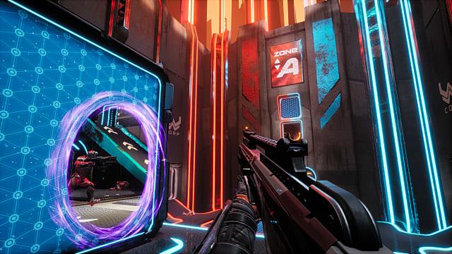 A player holding an assault rifle faces a purple portal.