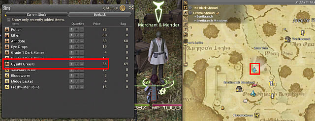 Composite screenshot showing Gysahl Greens in a merchant menu and a map showing the merchant location.