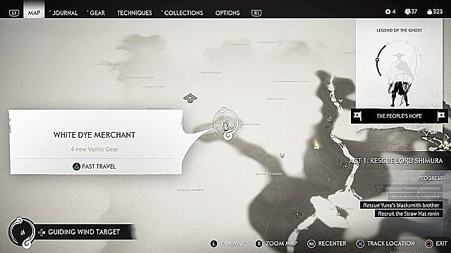 A black and white map showing the location of the white dye merchant in Wanderer's Pass.