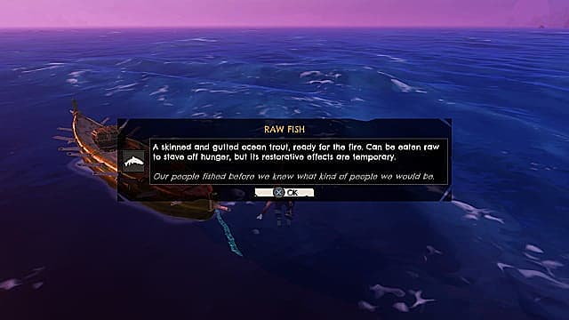 A wooden boat floats in the open ocean against a purple horizon with a menu detailing a raw fish item in Windbound.