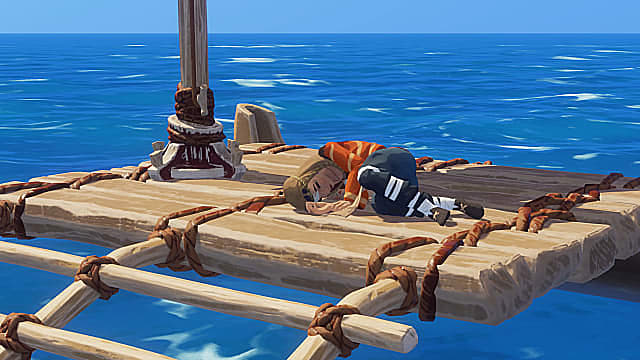 A curled up blonde haired woman wearing an orange shirt and blue pants sleeps on a raft in the open ocean.