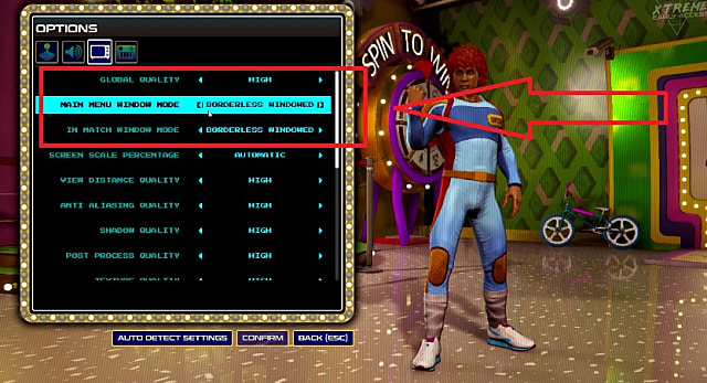 options screen in Radical Heights