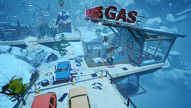 Establishing shot of a gas station on the edge of cliff, covered in snow.
