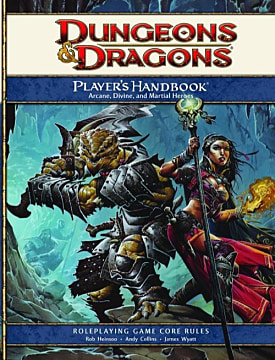 A D&D rulebook with typical RPG artwork