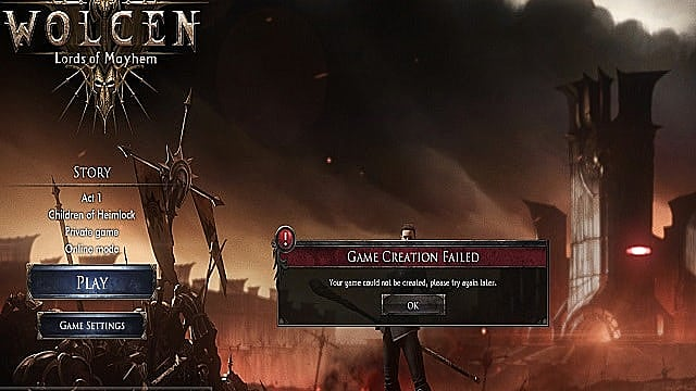 Wolcen in-game error message keeping players from playing online.