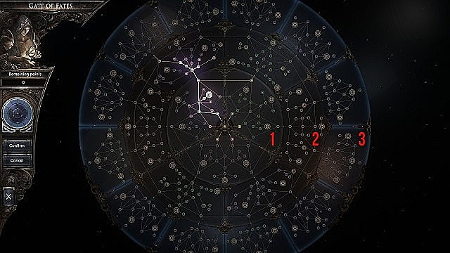 The Gate of Fates has three concentric rings with multiple skill paths.