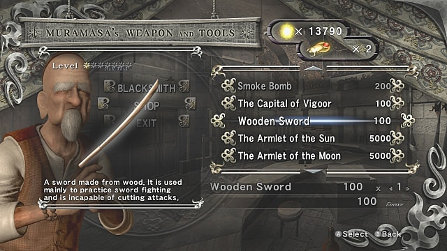 The wooden sword in Muramasa's weapon and tools shop menu with Muramasa in background.