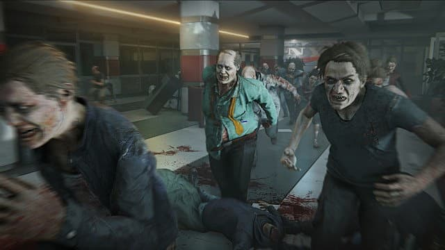 Zombies running through a ruined mall.