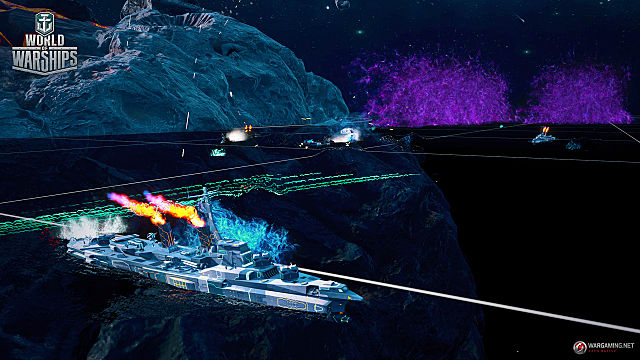 a spaceship in battle in Space Mode, World of Warships' new, limited-time mode