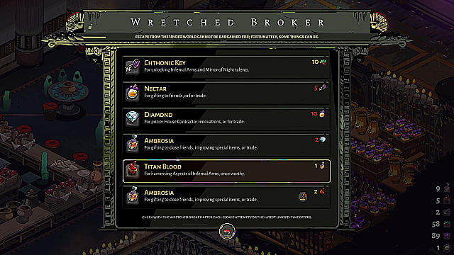Wretched Broker shop screen, showing Titan Blood, Ambrosia, Nectar, and more.