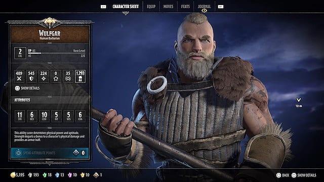 Wulfgar holding a warhammer in his character sheet menu in D&D: Dark Alliance
