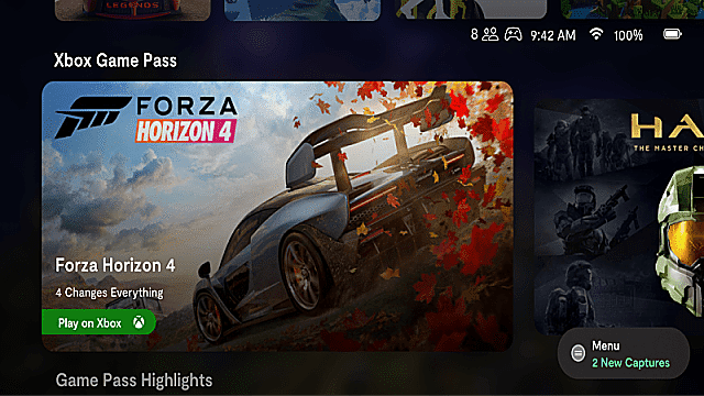 Xbox Game Pass home screen featuring Forza Horizon 4 and Halo.