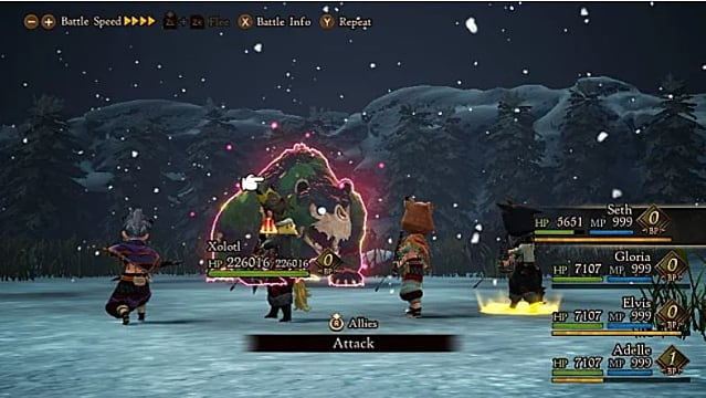 Party of four heroes fighting the Xolotl boss.