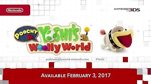Nintendo Direct splash screen announcing Yoshi's Wooly World 3DS.