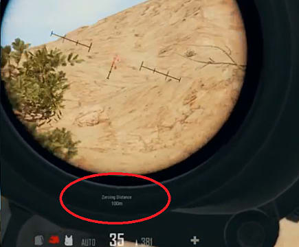 Zeroing Distance for a PUBG weapon circled in red