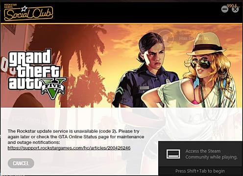 Grand Theft Auto 5 Social Club Error Code 2 Fix