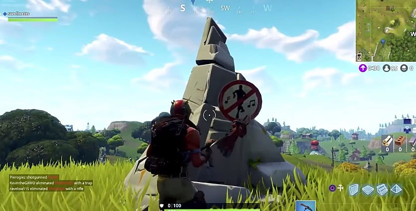 forbidden dancing in front of no dancing sign in fortnite battle royale - places to dance in fortnite