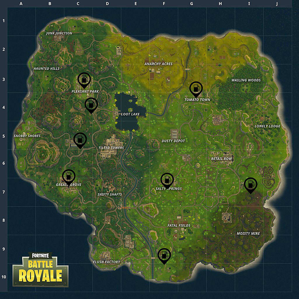 Fortnite Weekly Challenge - Gas Station Locations | Fortnite