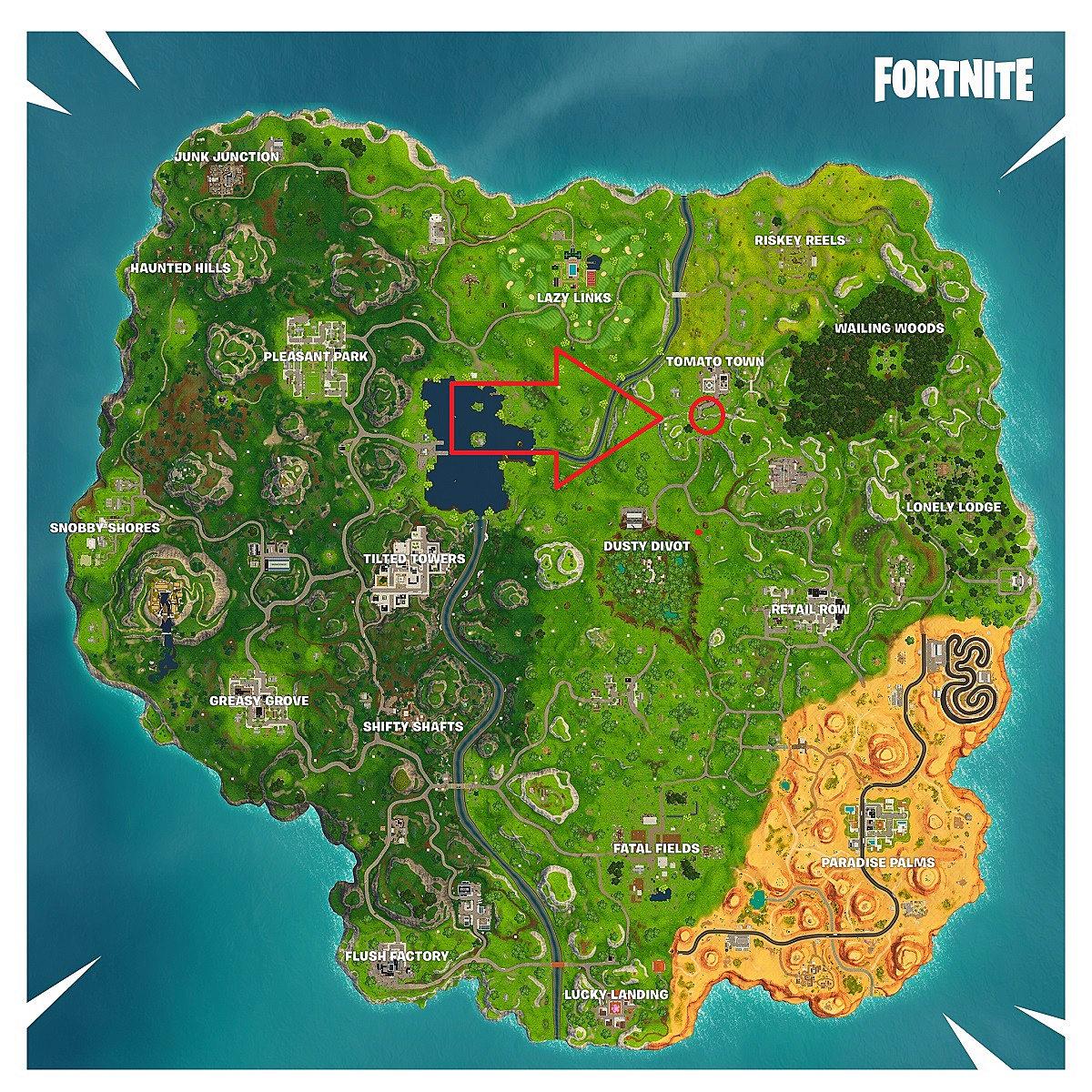 map showing the battle star for season 5 week 1 - fortnite treasure map risky reels