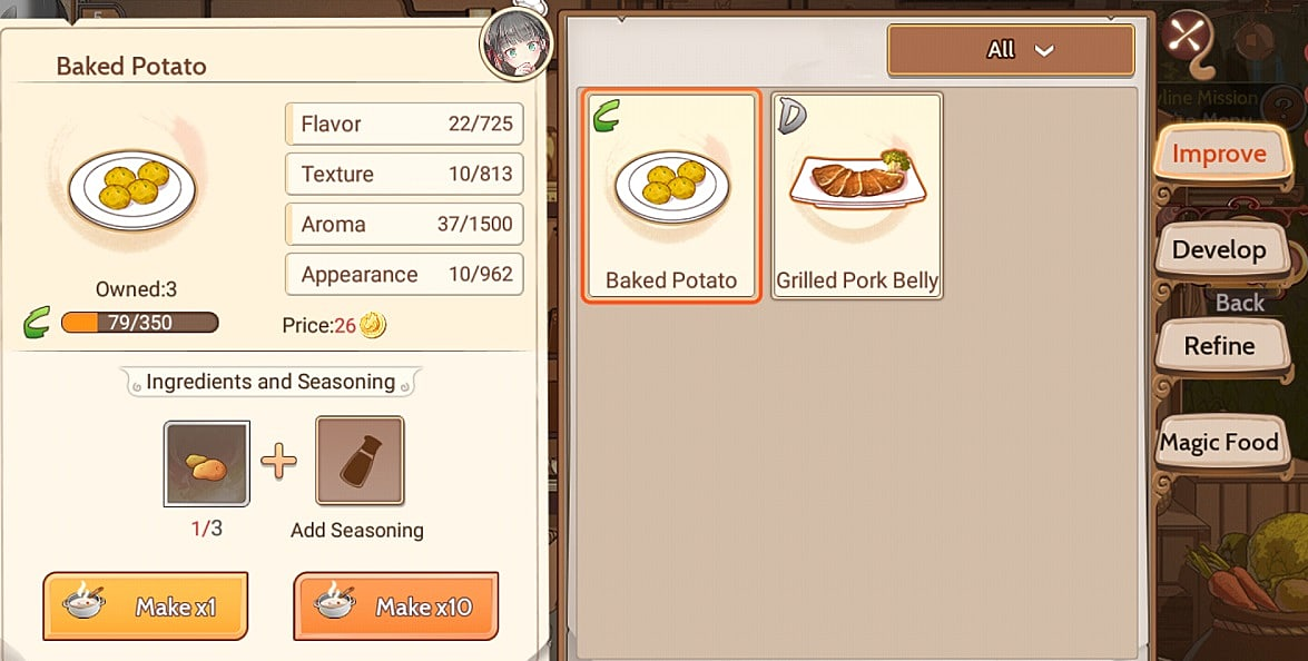 Food fantasy complete recipe guide with ingredients food fantasy screen 9d459g improving sukarajima recipes forumfinder Choice Image