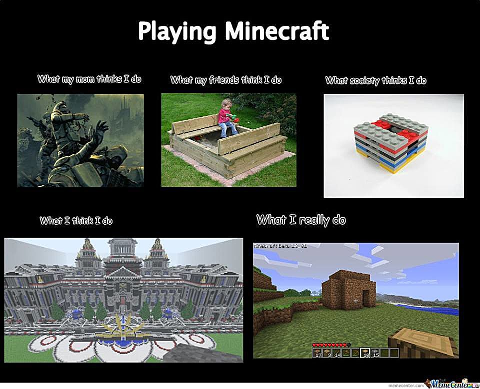 A meme for minecraft:<br>The following is the text.<br>What my mom thinks I do<br>(pic)<br>What my friends think I do<br>(pic)<br>What socitey thinks I do<br>(pic)<br>What I think I do<br>(pic)<br>What I really do<br>(pic)