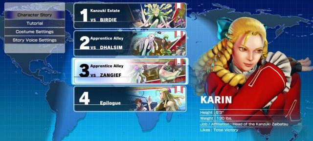 Street Fighter V story mode menu