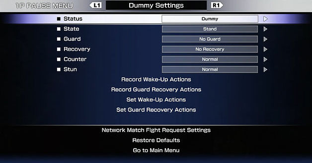 Street Fighter V training mode dummy settings