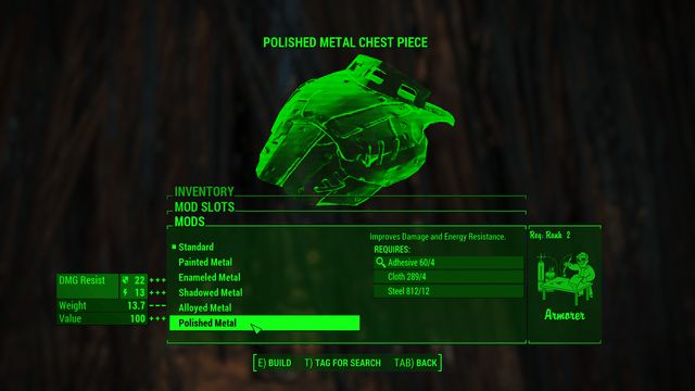 Polished Metal Chest Piece fallout 4 better armor mod descriptions