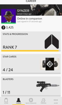 Star Wars Battlefront Companion app stats