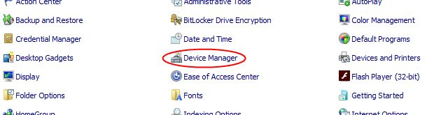 Navigate to your control panel, then Device Manager.