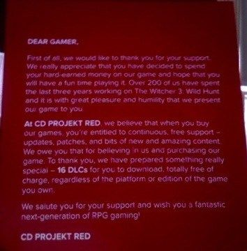 The Note from CD Projekt RED