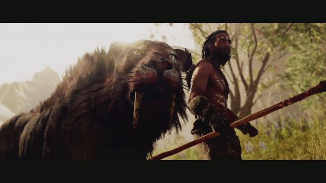 Far Cry Primal Man and Sabertooth Cat