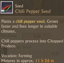 Chili peppers have a long maturation time.