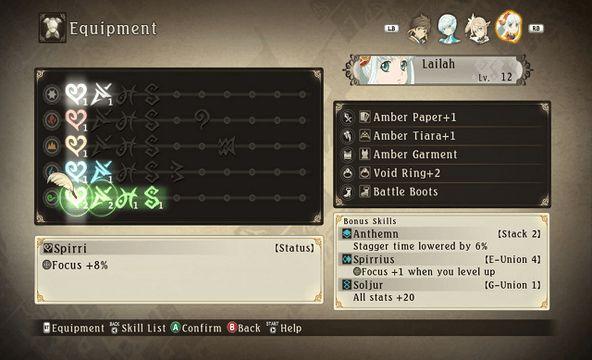 Tales of Zestiria equipment bonus skills