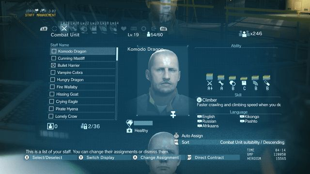 metal gear solid v staff management