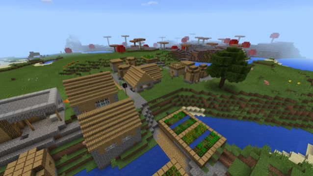 minecraft pe blacksmith thisbattlestartedtnt spawn near village with huge mushrom island seed