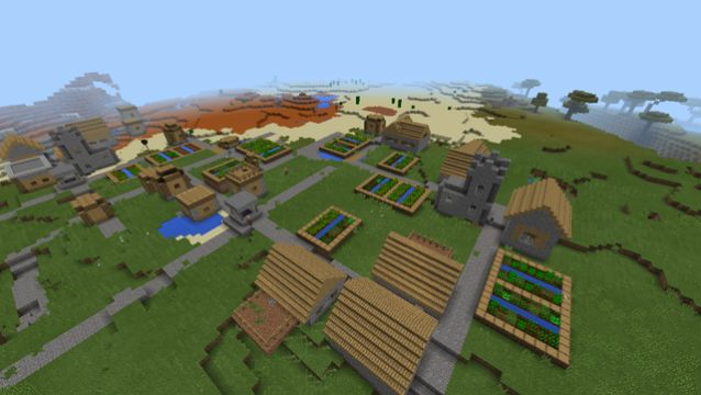 camero minecraft pe seed 10.4 double village mesa and plains