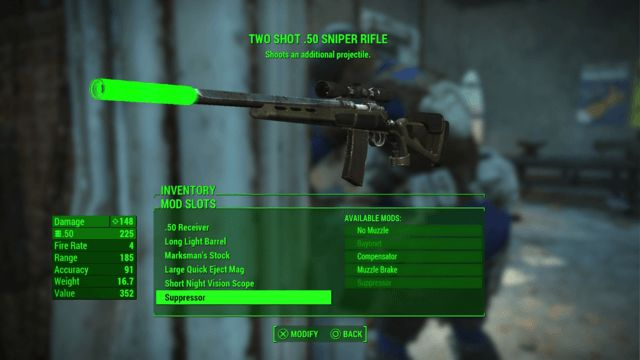 Suppressed Two Shot .50 Cal Sniper Rifle Fallout 4