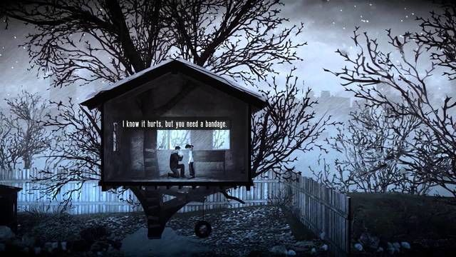 This War of Mine: The Little Ones talking to a child