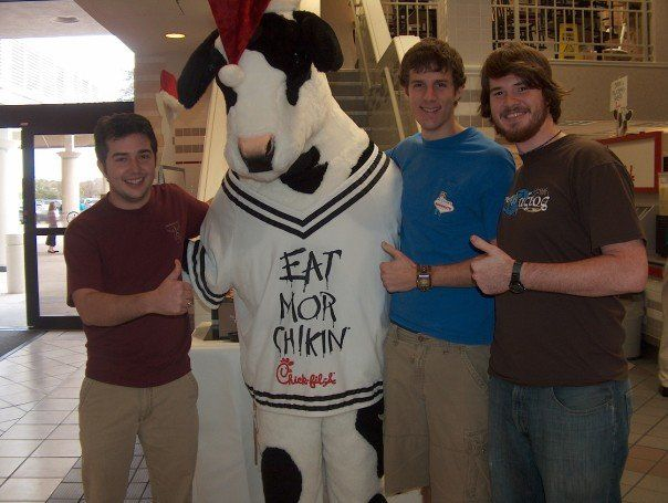 Friends, Gamers, and a Cow