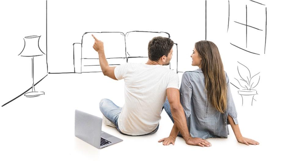 Мужчина и женщина выбирают дизайн комнаты