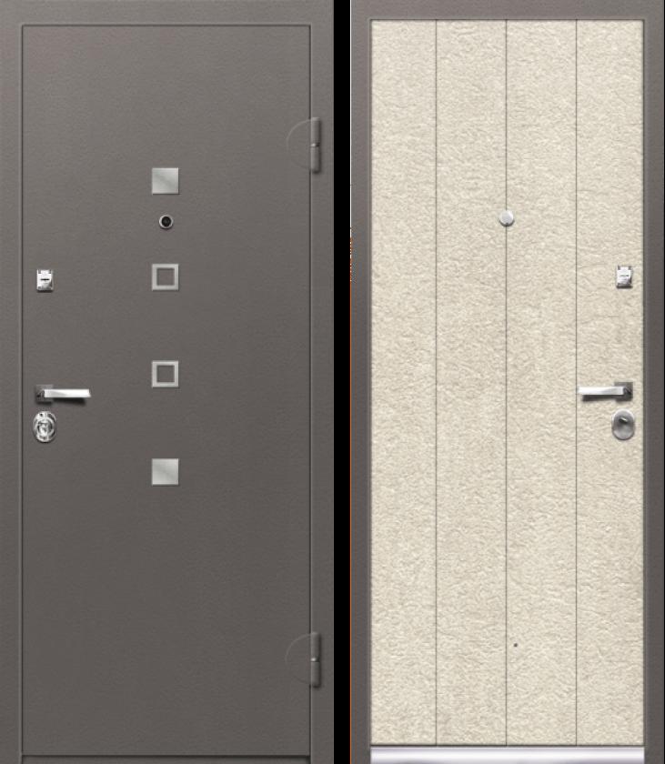 Вариант двери: Металл кварц, шагрень и МДФ, сосна скания милк линии