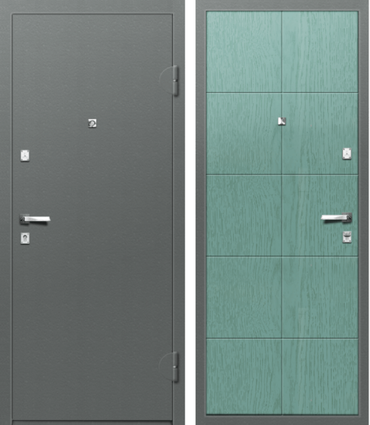 Вариант двери: Металл, серый и МДФ, браш бирюза линии
