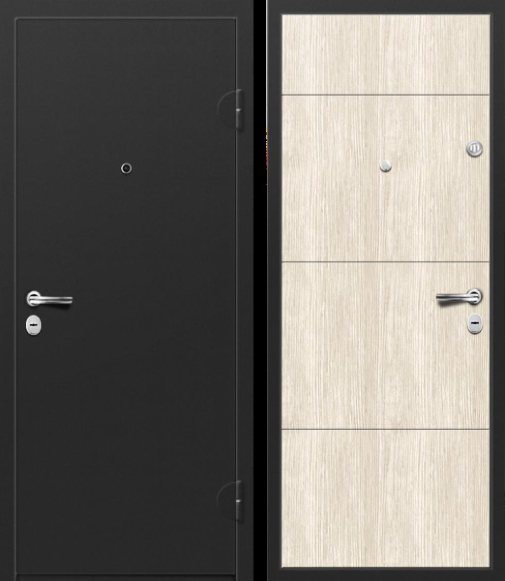 Вариант двери: Металл, чёрный и МДФ, сосна скания милк линии